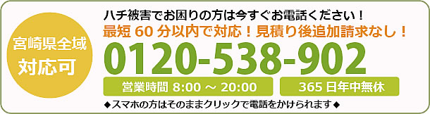 宮崎県蜂駆除・巣の撤去電話お問い合わせ「0120-538-902」